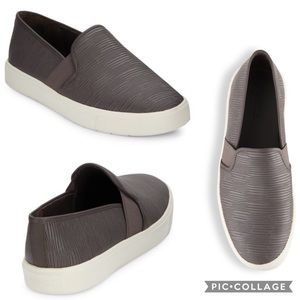 "VINCE ""Blair"" Brown-Gray Platform Slip-On Sneakers"